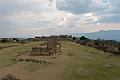 View of the Grand Plaza from the South Platform of Monte Alban (UNESCO World Heritage Site), which is a large pre-Columbian archaeological site in the Valley of Oaxaca region, Oaxaca, Mexico.