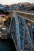Historic centre and Bridge, Arch Bridge Ponte Dom Luís over the Douro, connecting Porto, Portugal, Europe