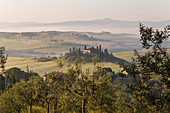 Villa on a hill in Val d'Orcia, Tuscany, central Italy