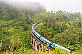 Train crossing the Demodera Nine Arches Bridge near Ella in the Southern Highlands, Sri Lanka