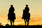 Cowboys & horses in silhouette at dawn on ranch, British Colombia, Canada. Model released.