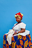 Portrait of a Bahian woman in traditional dress, Pelourinho, Salvador, Bahia, Brazil