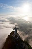 Aerial view of Christ Redeemer statue on the Corcovado Mountain, Rio de Janeiro, Brazil