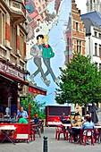 """""""Brousaille"""" (1999, Frank Pe) Mural on the Comic Book Route:  Rue du Marché au Charbon / Rue des Teinturiers (Kolenmarkt / Verversstraat) Brussels, Belgium."""