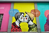 LGBT themed artwork by Greek artist Fotini Tikkou on the wall of Rainbow House (centre for LGBT community) in Rue De La Chaufferette / Lollepot Straat, Brussels, Belgium.