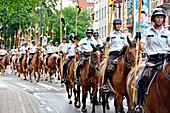 Brussles Mounted Police parading on Belgian National Day - 20th July 2017, Brussels, Belgium.