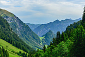Hike in the Swiss mountains with a wonderful view of the Alpstubli, near Isenthal, Switzerland