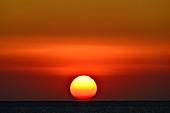 Dramatic sunrise over the Mediterranean Sea, Sant Feliu de Guixols, Catalonia, Spain