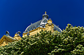 Blooming trees in front of the roof of the Mimara Museum, Zagreb, Croatia