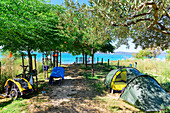 Tents and bicycles at the campsite on the Adriatic Sea, Bibinje, Zadar, Croatia