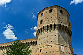 Defense tower as part of the city wall in Jesi, Ancona province, Italy