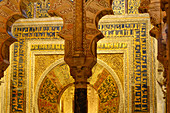 Ornate, golden chamber in the Mosque-Cathedral, Cordoba, Andalusia, Spain
