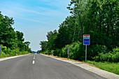 Lonely road from Hungary to Slovenia, near Dolga Vas, Slovenia