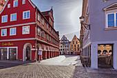 Kramerstrasse on the market square in Memmingen, Bavaria, Germany