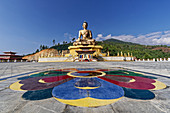 The pilgrimage destination and landmark of Thimphu is the huge Dordenma Buddha statue.