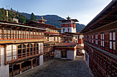 Afternoon in the Dzong of Trongsa: The monarchy of Bhutan is closely interwoven with Trongsa: In 1907 the Tongsa penlop Ugyen Wangchuk asserted himself as the sole ruler of Bhutan.