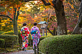 Young women in traditional Japanese dress walking in Kenrokuen Garden, Kanazawa, Japan