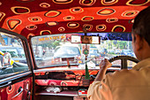 Interior view of Mumbai taxi driving along, Mumbai, India