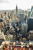 Aerial view of Manhattan skyline, New York, USA