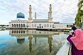 City Mosque at Likas Bay. Kota Kinabalu, Sabah, Borneo, Malaysia.