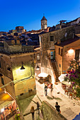 Dusk,Overhead of street and cafe in Capoliveri, Elba, Tuscany, Italy