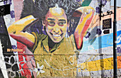 Chile, Valparaiso, mural, graffiti, street scene,