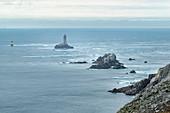 Lighthouses and beacons on the Pointe du Raz to the Chaussée de Sein, Grand Site National, Finistere, Iroise, Cap Sizun, Plogoff, Pointe du Raz, Brittany, France, Europe