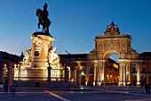 The equestrian statue of King Dom José I has stood in the middle of the Praca do Comercio since 1775.