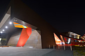 The National Museum of Australia Canberra at night at the Australian Capital Territory.The museum holds the world's largest collection of Aboriginal bark paintings and stone tool.