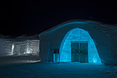 Entrance to the classic Icehotel in Jukkasjarvi near Kiruna in Swedish Lapland; northern Sweden at night.