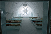 The Ceremony Hall in the classic Icehotel in Jukkasjarvi near Kiruna in Swedish Lapland; northern Sweden.