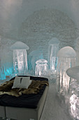 Cold Rooms in the ICEHOTEL 365 which was launched in 2016 and is a permanent structure offering year round the stay in the Icehotel in Jukkasjarvi near Kiruna in Swedish Lapland; northern Sweden.