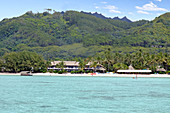 Landscape view from a boat of Muri lagoon beach in Rarotonga, Cook Islands. Copy space
