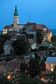 Czech Republic, Moravia, Mikulov, skyline, general view, castle,