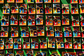 Small colorful souvenir houses for sale in La Boca, a Buenos Aires neighborhood which is a major tourist attraction in Buenos Aires, Argentina.