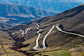 View from Lipan Pass of Highway 52 in the Andes Mountains near Purmamarca, Jujuy Province, Argentina.