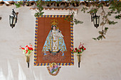 Tile work picturing the Virgin of Candelaria at the old church from 1631 in the city of Humahuaca in the valley of Quebrada de Humahuaca, Andes Mountains near Purmamarca, Jujuy Province, Argentina.