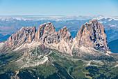 Sassolungo group as seen from Marmolada, Dolomites, Trentino South Tyrol, Italy