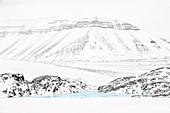 Blue ice in Billefjorden, Spitsbergen, Svalbard.\n\n
