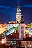 Cesky Krumlov, night view of the illuminated Krumlov Castle and the old town, South Bohemia, Czech Republic, Europe