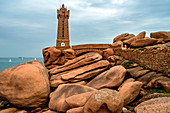 Ploumanac'h lighthouse (Mean Ruz lighthouse),pink granite coast,Route des Phares,(lighthouse route), Britanny, France
