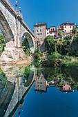 The Devil's Bridge (Ponte del Diavolo) on the Natisone river, Cividale del Friuli, Udine, Friuli Venezia Giulia, Italy, Europe