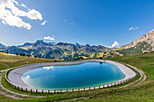 Small artificial lake near the Bec de Roces refuge, Dolomites, Arabba, Livinallogo del Col di Lana, Belluno, Veneto, Italy
