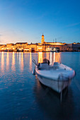 Town of Krk, marina view at evening with some boats moored, island of Krk, Kvarner bay, Adriatic coast, Croatia