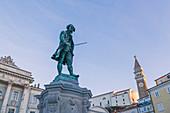 The statue of Giuseppe Tartini in the central square of Piran, Primorska, Istria, Slovenia