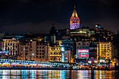 Galata Tower and Galata Bridge by night,Istanbul, Turkey,Turkish