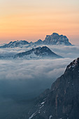 Gran Cir, Gardena Pass, Dolomites, Bolzano district, South Tyrol, Italy, Europe. View just before sunrise from the summit of Gran Cir to the Mount Pelmo