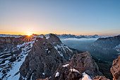 Gran Cir, Gardena Pass, Dolomites, Bolzano district, South Tyrol, Italy, Europe. View at sunrise from the summit of Gran Cir