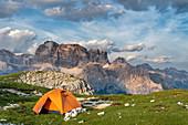 Mount Campedelle, Misurina, Auronzo di Cadore, province of Belluno, Veneto, Italy, Europe. The Mount Croda dei Toni at sunset