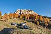 Alta Badia, Bolzano province, South Tyrol, Italy, Europe. Autumn on the Armentara meadows, above the mountains of the Neuner, Zehner and Heiligkreuzkofel
